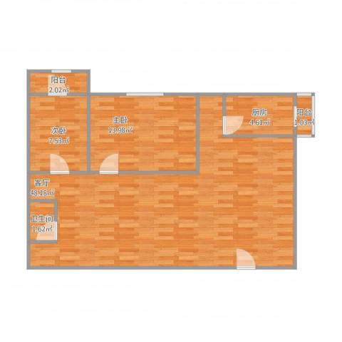 漾河公寓2室1厅1卫1厨106.00㎡户型图