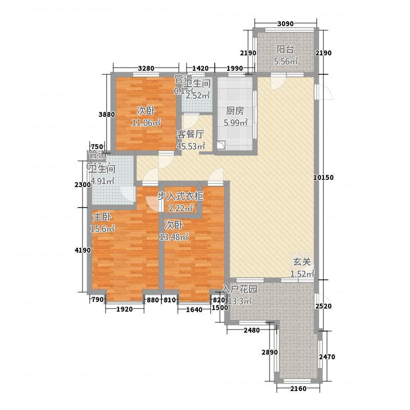 天洲铂悦1163.26㎡10号楼C户型3室2厅2卫1厨