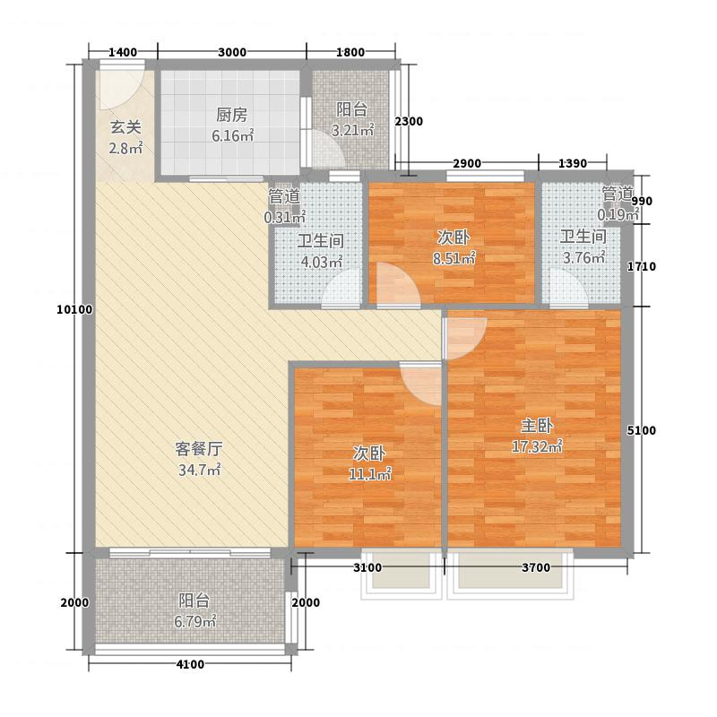 开平康城3115.20㎡户型3室2厅2卫1厨