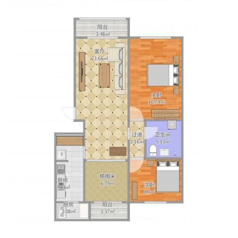 富来宫温泉公寓2室1厅1卫2厨106.00㎡户型图