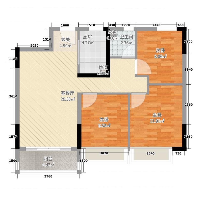 郑州碧桂园1111.20㎡洋房YJ110-B户型3室2厅1卫1厨
