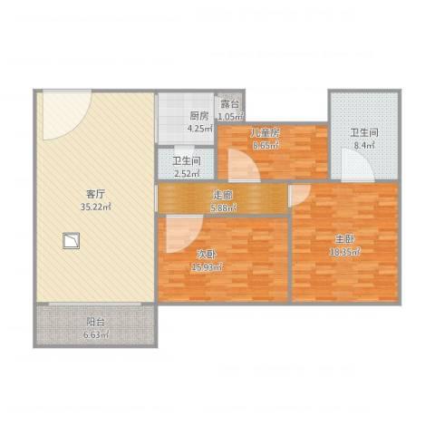 豪兴苑3室1厅2卫1厨144.00㎡户型图