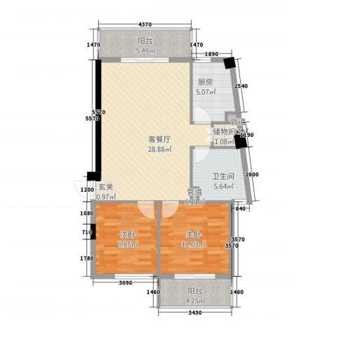 城市之光2室1厅1卫1厨121.00㎡户型图