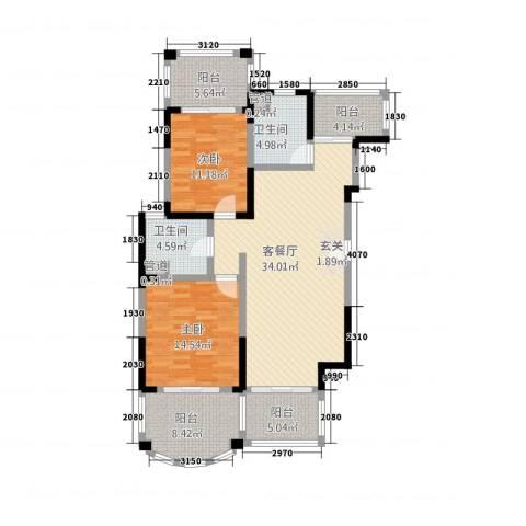 南太武高尔夫澎湖湾2室1厅2卫0厨135.00㎡户型图