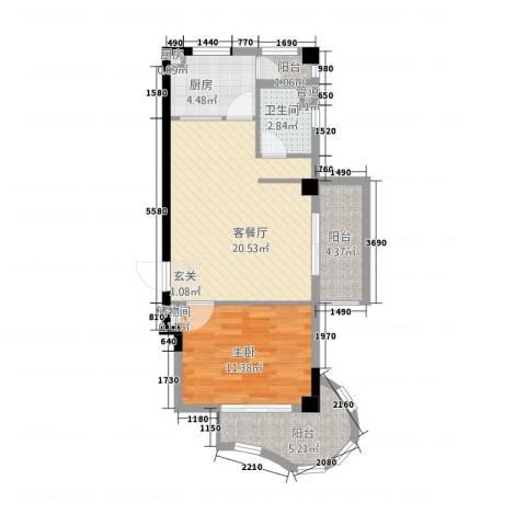 城市之光1室1厅1卫2厨4173.00㎡户型图
