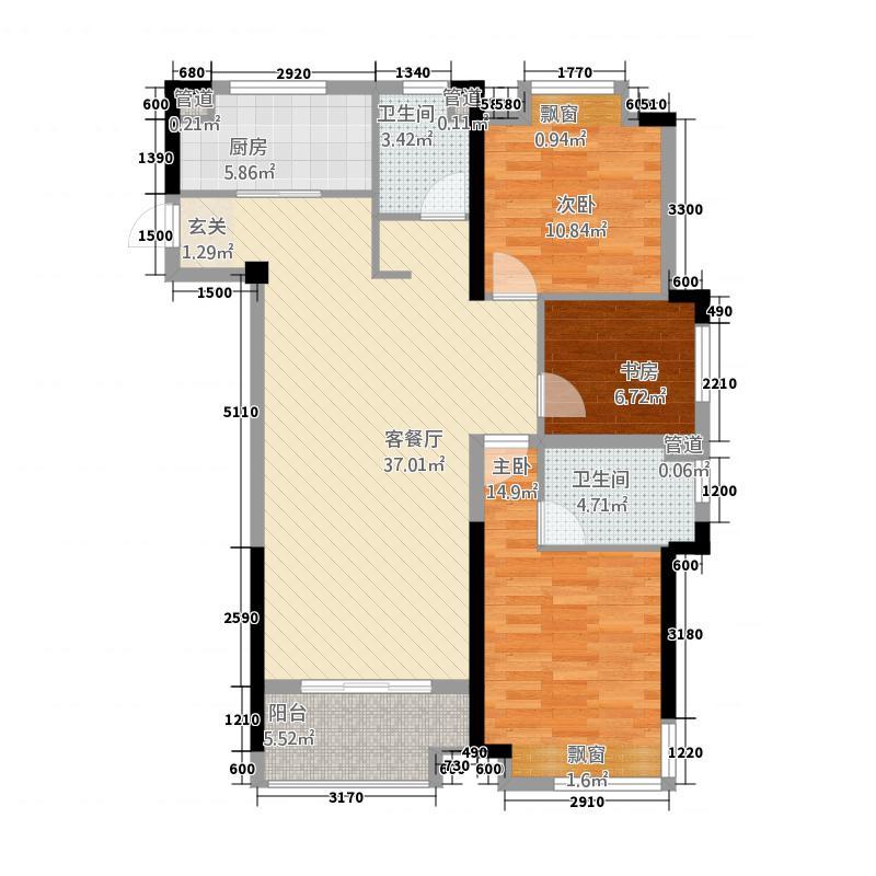 依澜雅居2115.20㎡高层C2户型3室2厅2卫1厨