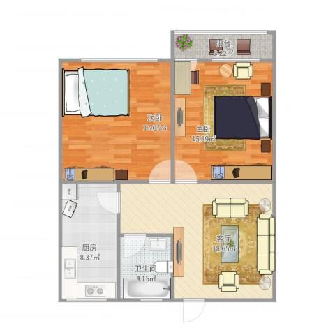 七里堡小区2室1厅1卫1厨90.00㎡户型图