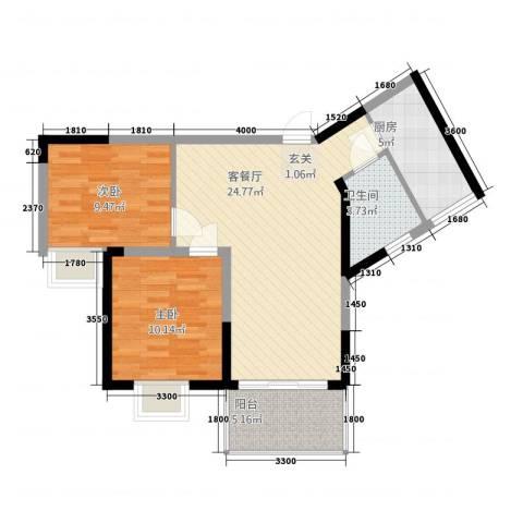 铜锣湾2室1厅1卫1厨6228.00㎡户型图