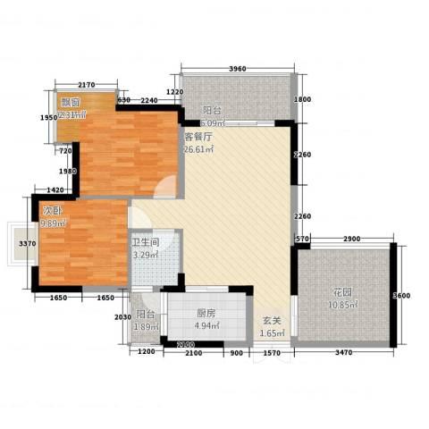 铜锣湾2室1厅1卫1厨3228.00㎡户型图