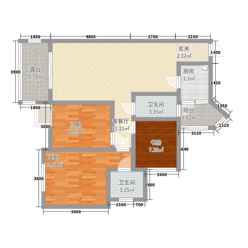 观澜尚郡二期8.62㎡F'-2户型3室2厅2卫1厨