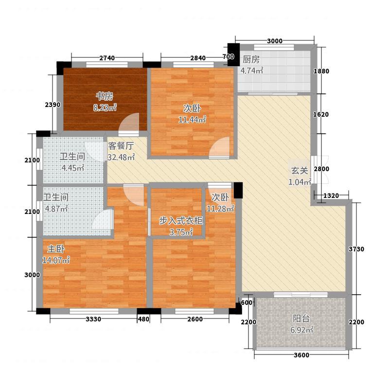 濮院・万家星城136.52㎡户型4室2厅2卫1厨