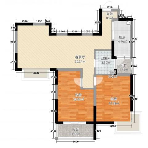 新世纪绿树湾2室1厅1卫1厨70.38㎡户型图