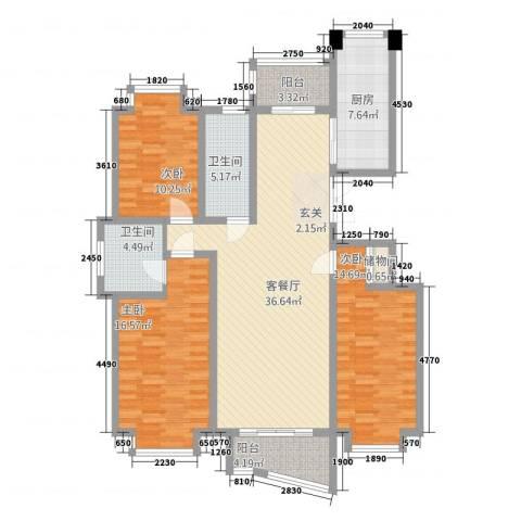 中创泰和苑3室1厅2卫1厨151.00㎡户型图