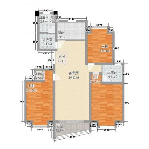 中创泰和苑3室2厅2卫1厨143.00㎡户型图