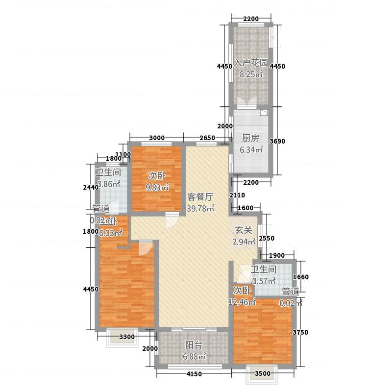 世纪龙庭二期112147.20㎡D区112号楼标准层U户型3室2厅2卫1厨