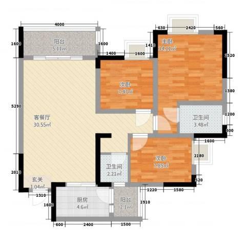 綦江金域蓝湾3室1厅2卫1厨77.49㎡户型图