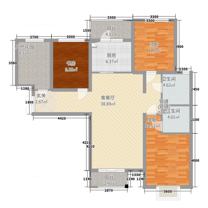 世纪龙庭二期115137.20㎡D区115号楼标准层T1户型3室2厅2卫1厨