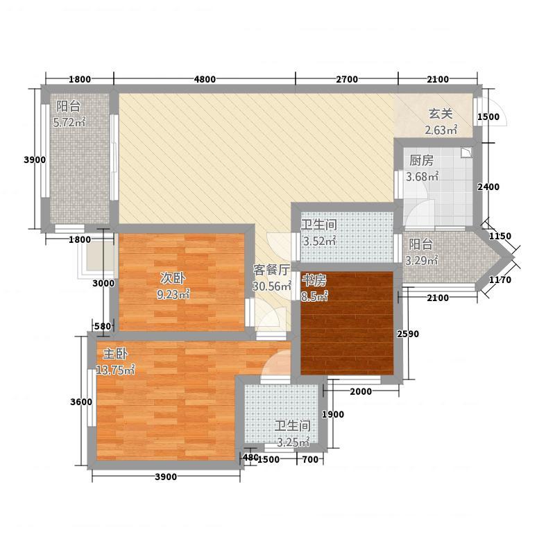观澜尚郡二期12.68㎡F-2户型3室2厅2卫1厨