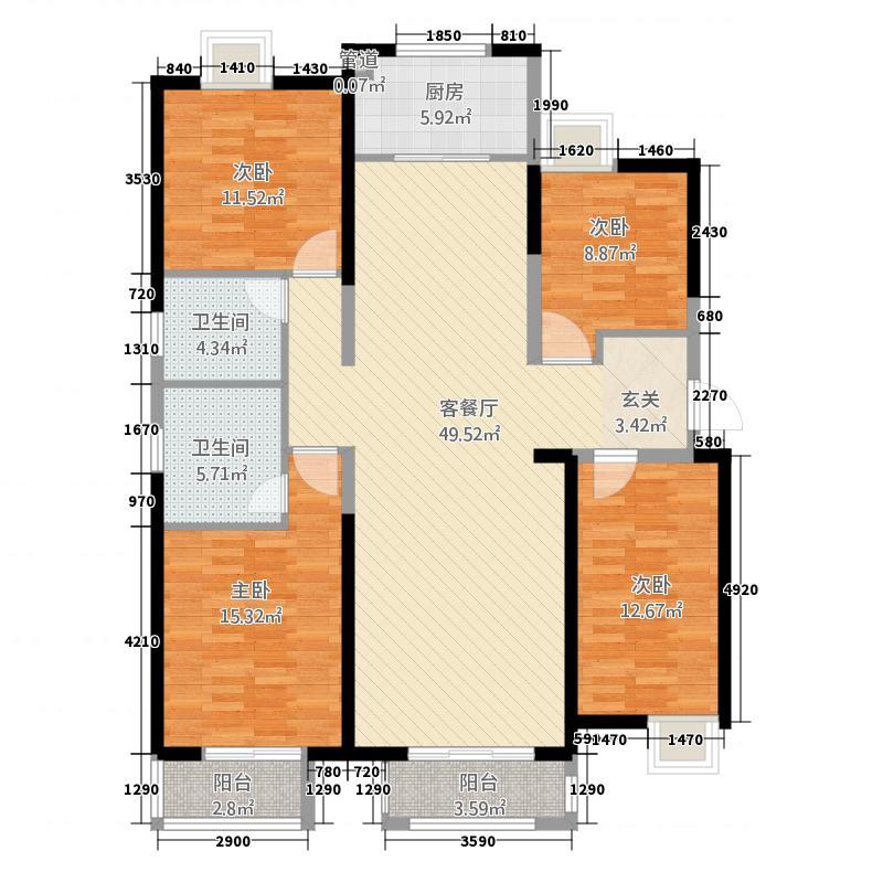 华府国际216.75㎡A2#标准层F户型4室2厅2卫1厨