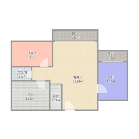 东方广场3室1厅1卫1厨118.00㎡户型图