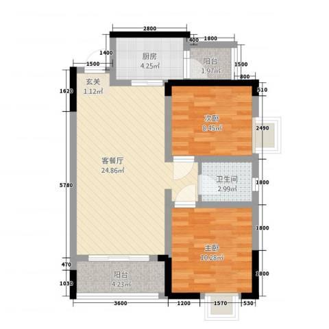 綦江金域蓝湾2室1厅1卫1厨76.00㎡户型图