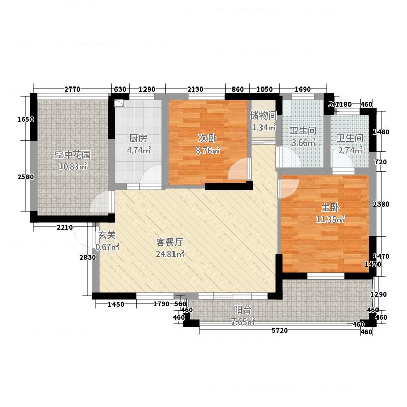 东方曼哈顿21411.20㎡9V2YT户型3室2厅2卫1厨