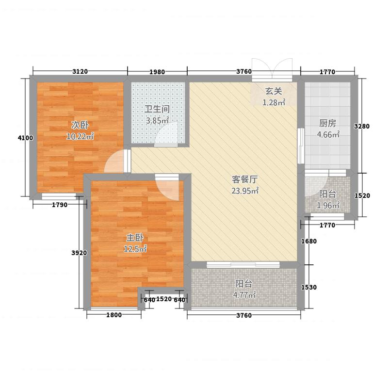 特变森林花园8.20㎡B户型2室2厅1卫1厨