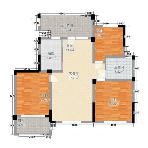 东方罗马3室1厅1卫1厨144.00㎡户型图