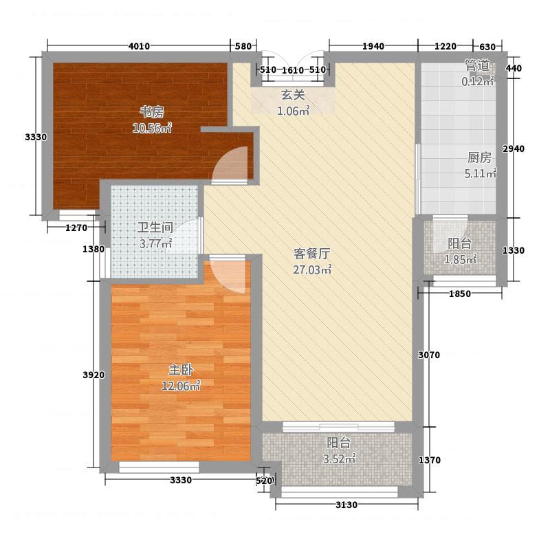 特变森林花园18.20㎡L1户型2室2厅1卫1厨