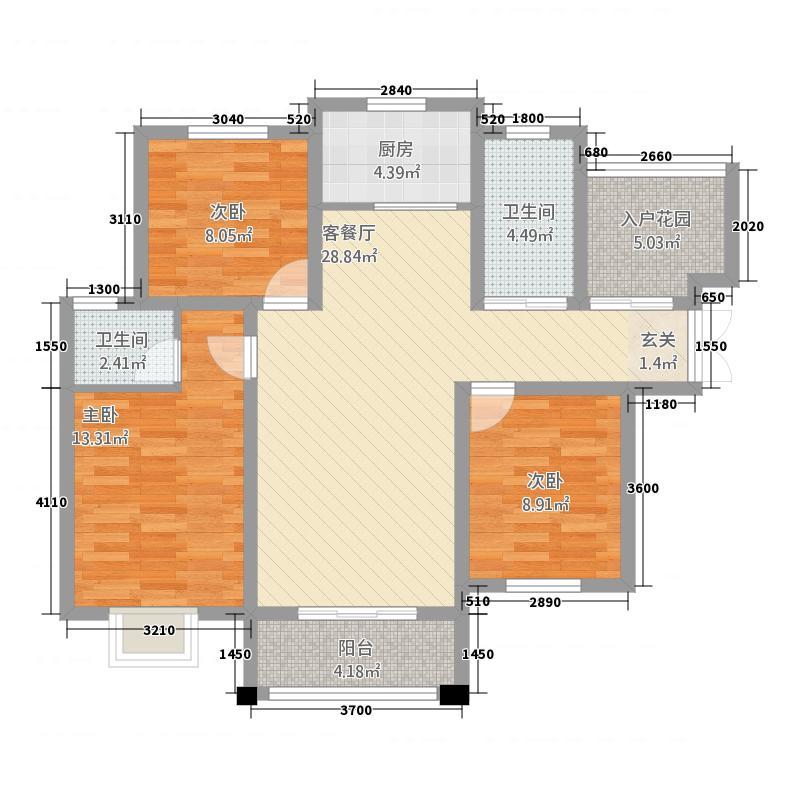 天河湾32116.20㎡E户型3室2厅2卫1厨