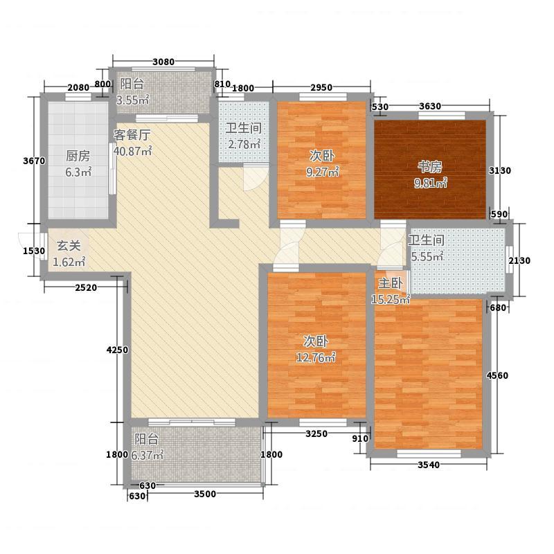 聚龙小镇陶然居二期156.20㎡15#01户型4室2厅2卫1厨