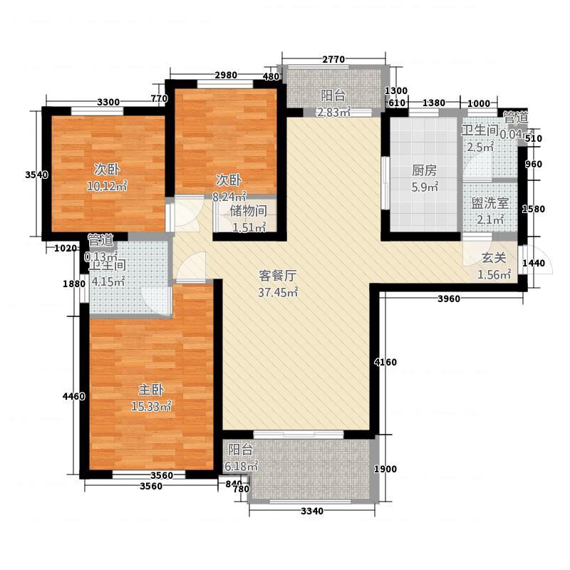 聚龙小镇陶然居二期137.20㎡11#07户型3室2厅2卫1厨