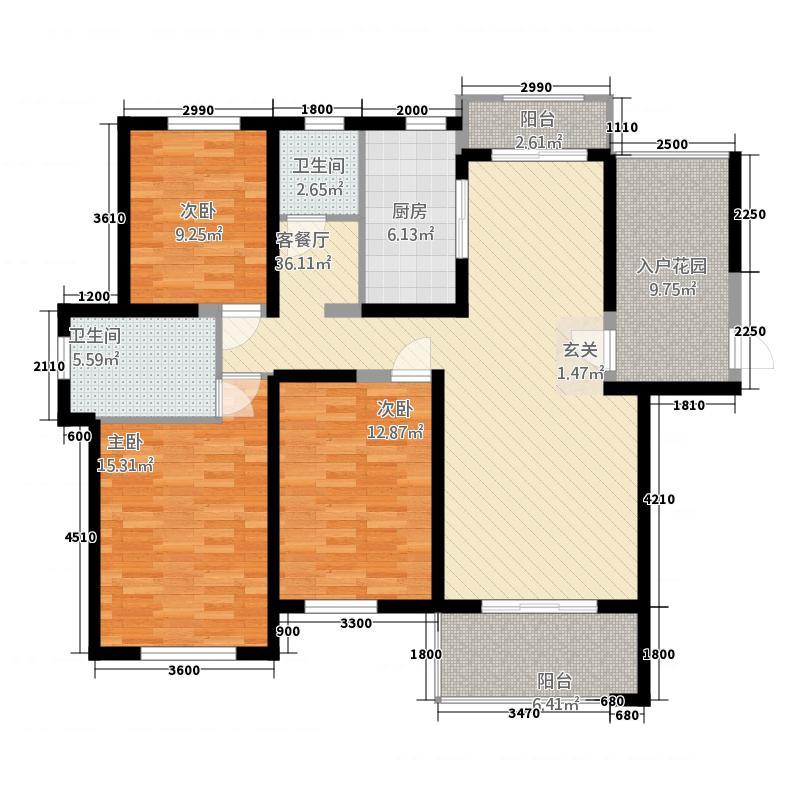 聚龙小镇陶然居二期14.20㎡15#03户型3室2厅2卫1厨