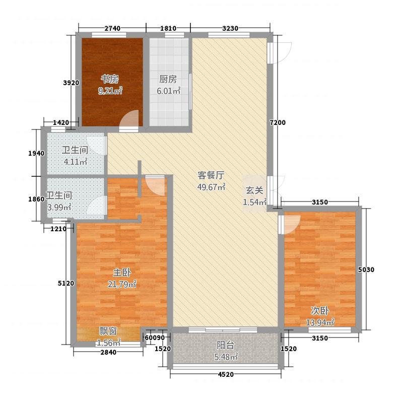 特变森林花园11.20㎡F户型3室2厅2卫1厨