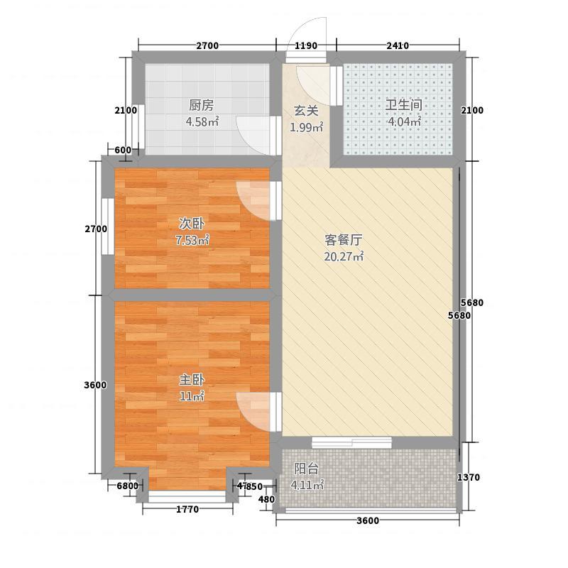 龙城金帝园2278.13㎡A2户型2室2厅1卫