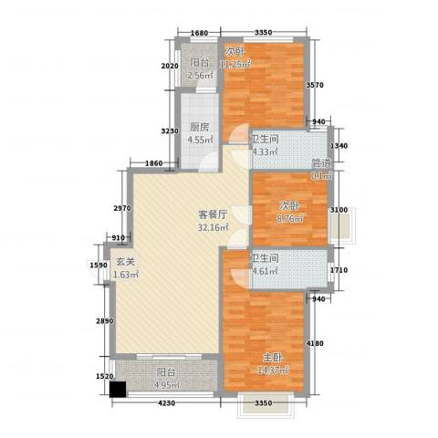 东方丽池3室1厅2卫1厨124.00㎡户型图