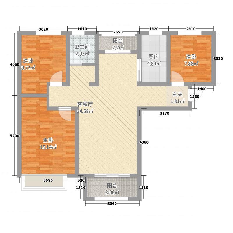 康桥原溪里118.12㎡一期C户型3室2厅1卫1厨
