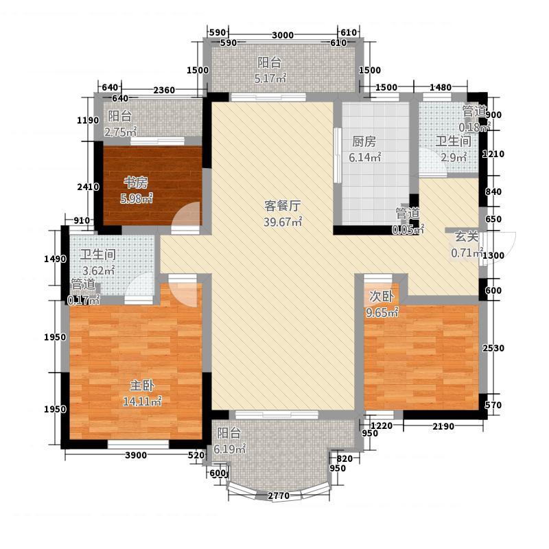 御锦馨河城12.20㎡A户型3室2厅2卫1厨