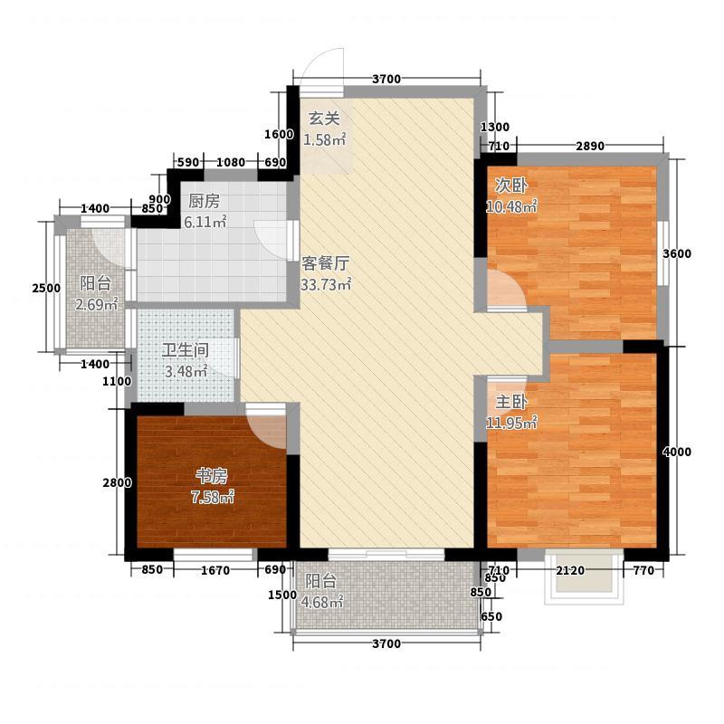 天润公馆732.67㎡sz户型3室2厅1卫1厨