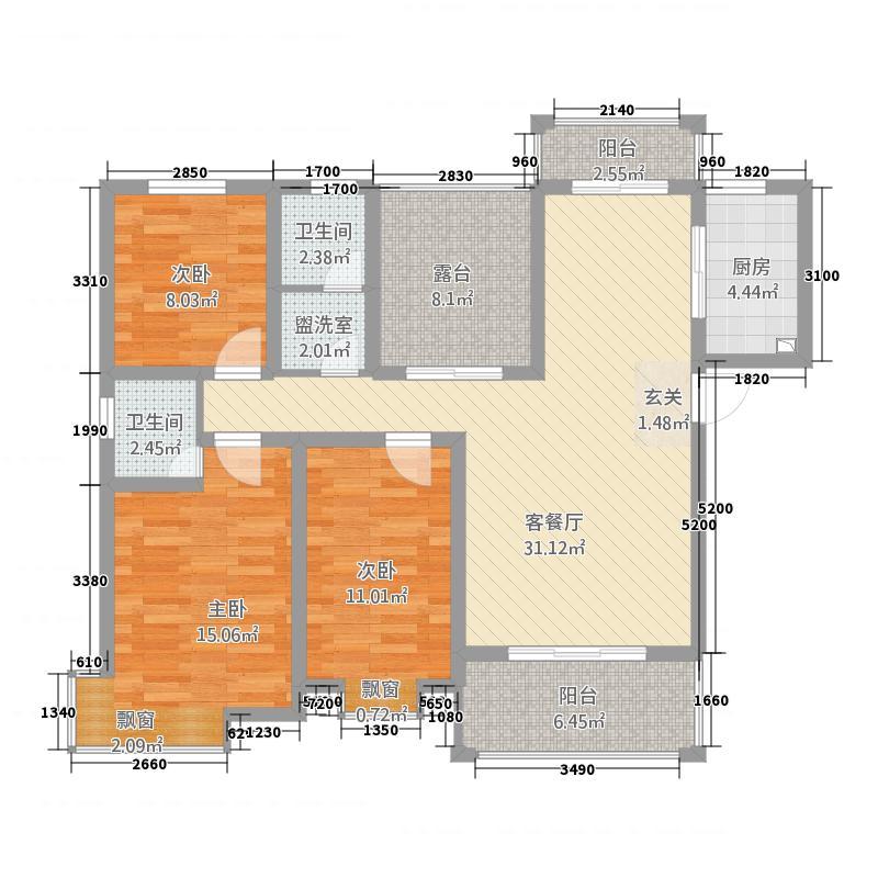 坤宇凯旋城135.51㎡一期P户型3室2厅2卫1厨