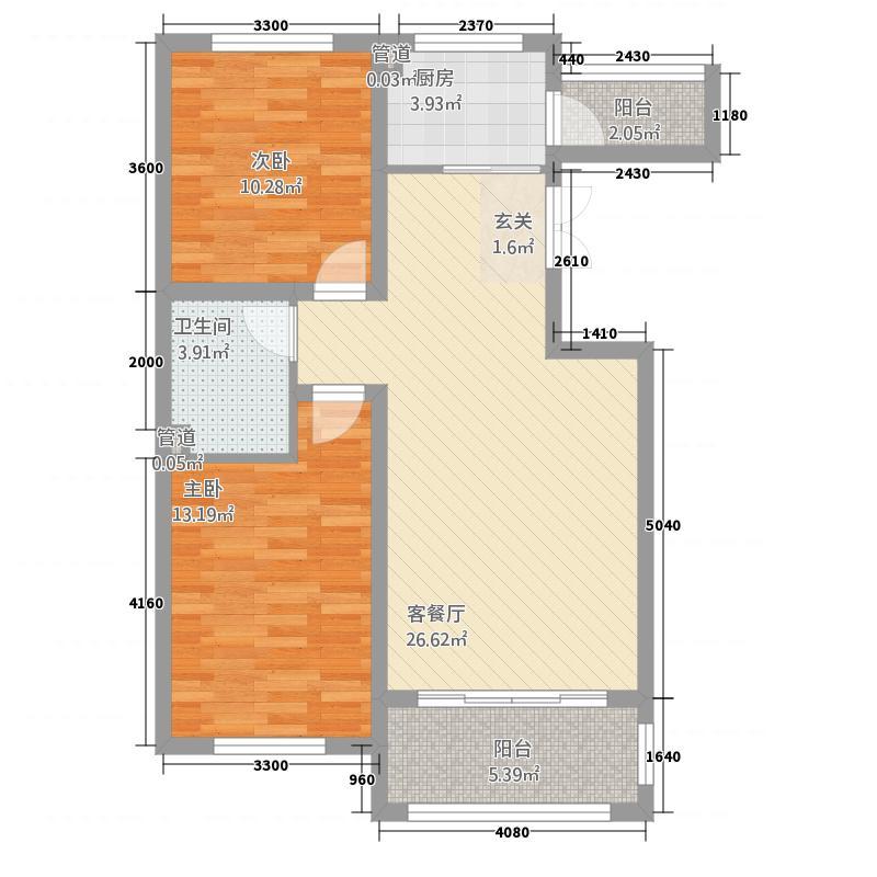 蓝山原著42214.48㎡户型2室2厅1卫1厨