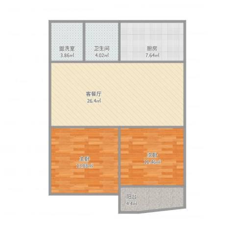 听潮四村第三次设计2室2厅1卫1厨96.00㎡户型图