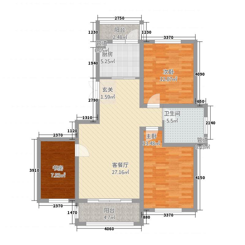 蓝山原著11332113.00㎡户型3室2厅1卫1厨