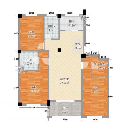丰雅苑3室1厅2卫1厨127.00㎡户型图