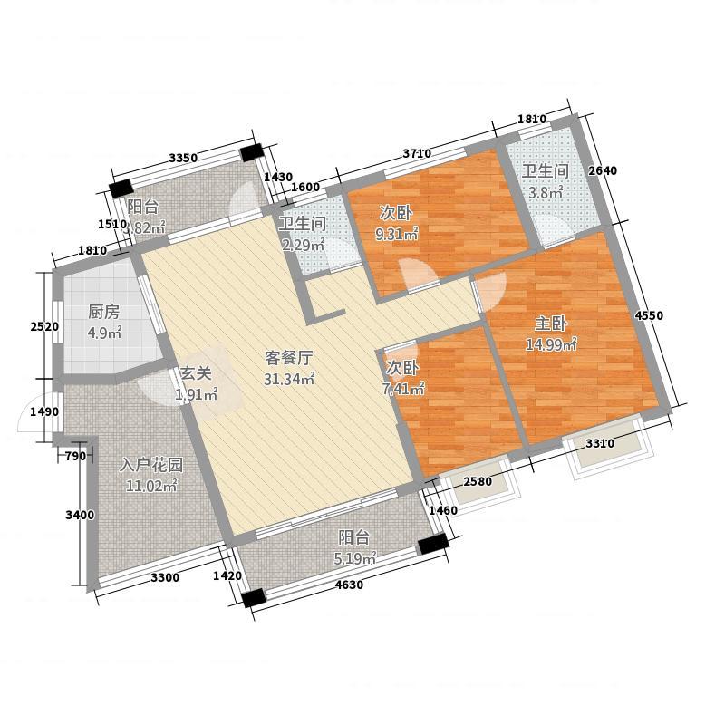 时代皇庭132.00㎡13290户型3室2厅2卫1厨
