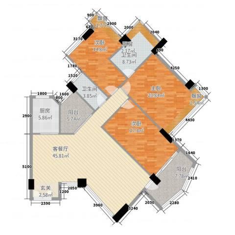 颐和上院3室1厅2卫1厨130.81㎡户型图
