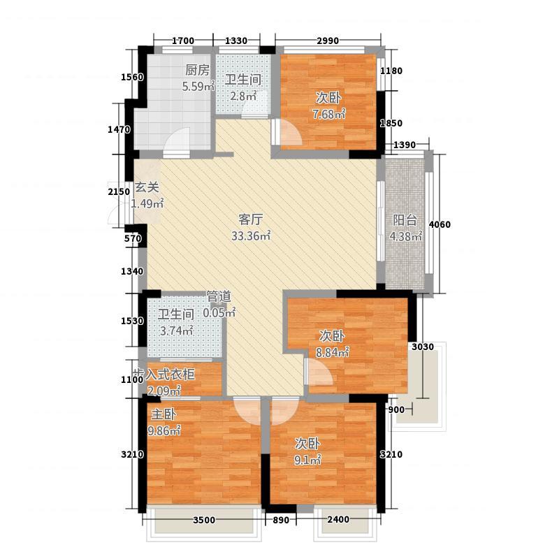 句容万达茂125.20㎡二期标准层E1户型4室2厅2卫1厨
