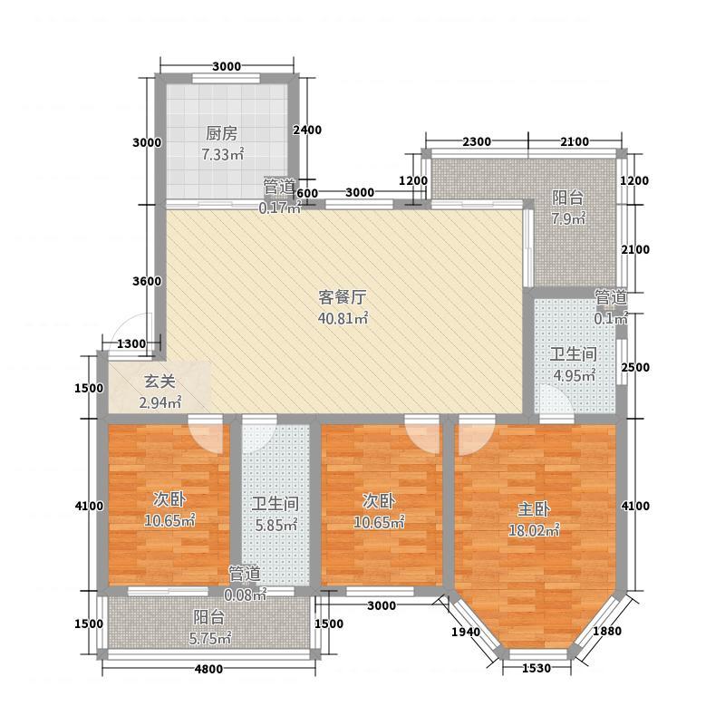 御景阳光山庄二期2.20㎡C2户型3室2厅2卫1厨