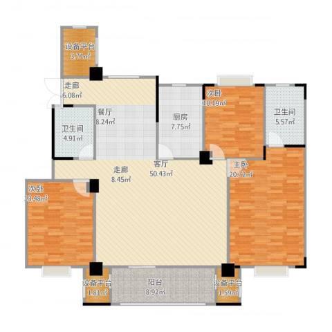 天润国际花园3室1厅2卫1厨175.00㎡户型图