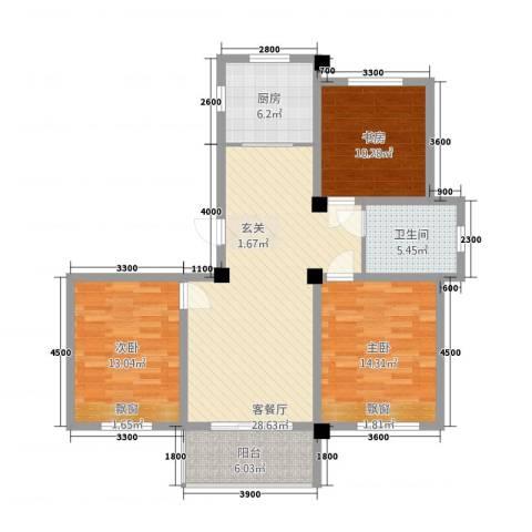 锦绣江南3室1厅1卫1厨4814.00㎡户型图
